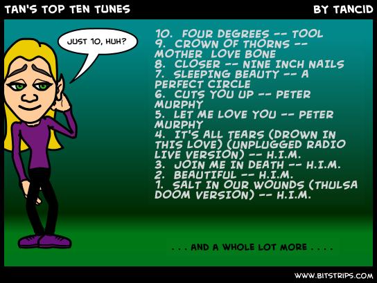 Tan's Top Ten Tunes