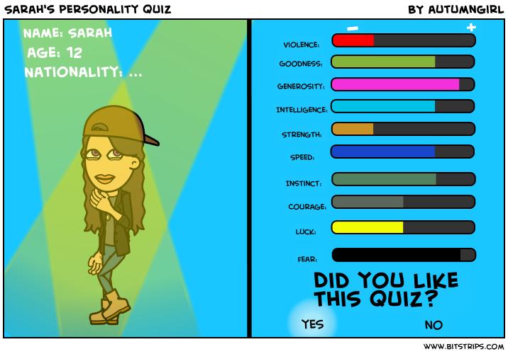 Sarah's personality quiz
