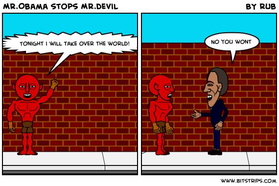 Mr.Obama stops Mr.devil
