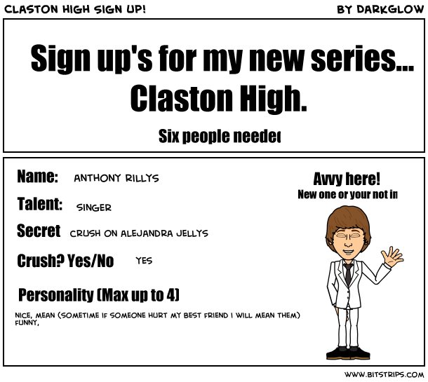 Claston high Sign up!