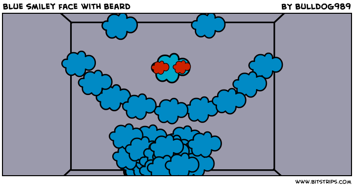blue smiley face with beard