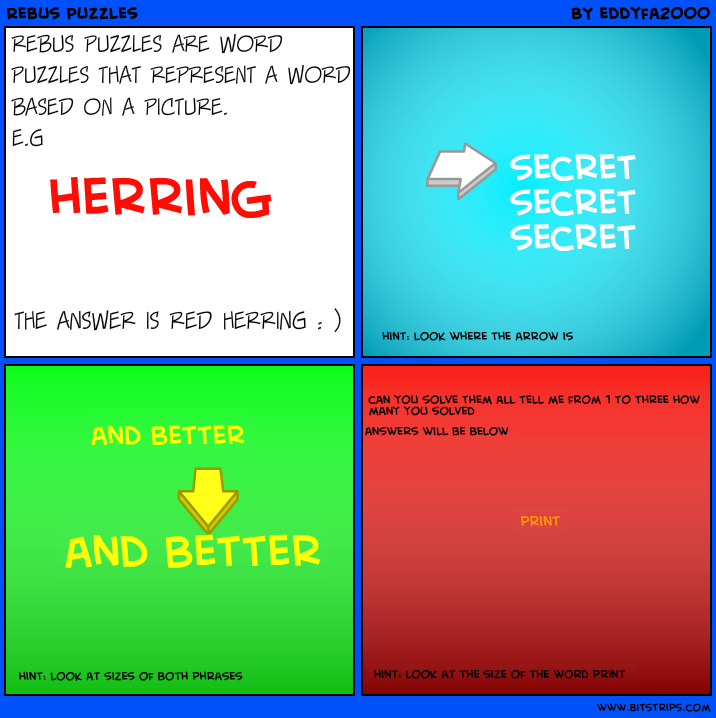 rebus puzzles are word puzzles that represent a word based on a ...