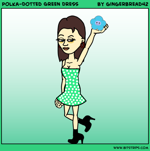 Polka-Dotted Green Dress