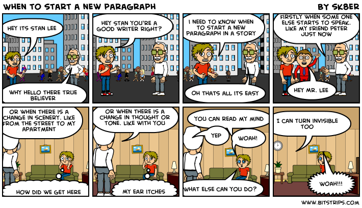 When to start a new paragraph Bitstrips
