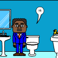 In the bathroom with black man