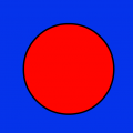 red dot on a blue background