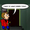 Bobby makes dinner