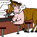'Horse and pig go into bar'