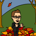 Finn jumps in leaves