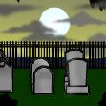 Scene:sunset graveyard.